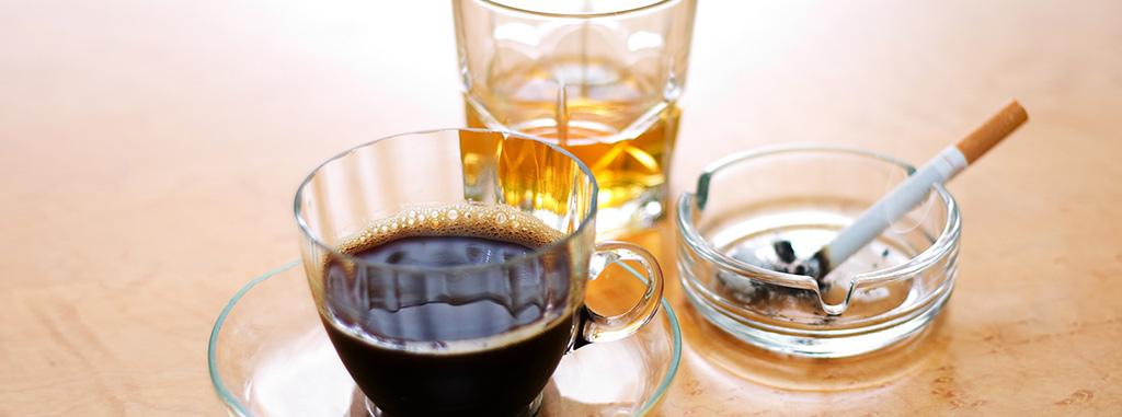 Alcohol, coffee and cigarette